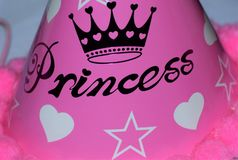Princess. Children Birthday hat written as Princess in a pink background Royalty Free Stock Images
