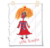 Princess Children's hand drawing.Doodle on notebook sheet Stock Photos