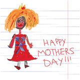 Princess Children's hand drawing.Doodles.Happy Mother's day Stock Photos
