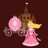 Princess cinderela with shoes carriage and castle behind Royalty Free Stock Images
