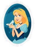 Princess Cinderella Holding Magic Shoe Vector Cartoon. Illustration of a beautiful maiden with crystal slipper shoe Royalty Free Stock Image