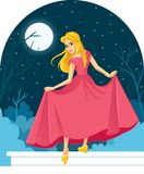 Princess Cinderella Losing Her Shoe at The Ball. Fairy tale illustration of a beautiful girl in ball dress losing slipper Royalty Free Stock Photography