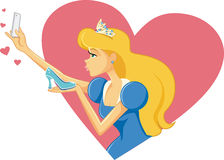 Princess Cinderella Taking a Selfie and Kissing Her Shoe Stock Photos