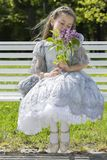 Princess closed eyes in the floral pleasure Stock Photo