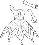 Princess' clothes coloring page Stock Photography