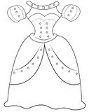 Princess' clothing coloring page Stock Image