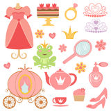 Princess collection. Cute collection of princess related icons Stock Image
