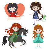 Princess collection, isolated on white background. Royalty Free Stock Photo