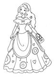 Princess Coloring Page. A princess illustration, fun to color for little girls Royalty Free Stock Photos
