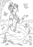 Princess. Coloring page with a beautiful princess Stock Image