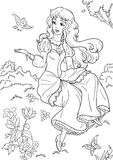 Princess. Coloring page with a beautiful princess Stock Photo