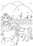 Princess coloring page Royalty Free Stock Image