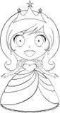 Princess Coloring Page 1. Vector illustration coloring page of a beautiful princess smiling vector illustration