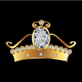 Princess crown. In gold and diamonds Stock Image