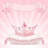 Princess crown background. Shiny background with Princess crown on pink pillow Royalty Free Stock Photo