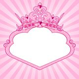Princess crown frame. Beautiful background with crown frame for true princess Stock Image