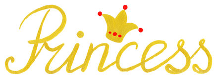 Princess crown gold golden word typographic lettering isolated Stock Photos