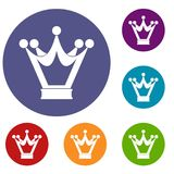 Princess crown icons set. In flat circle red, blue and green color for web Royalty Free Stock Photos