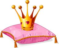 Princess crown on the pink pillow. Gold Princess crown on the pink pillow Stock Image