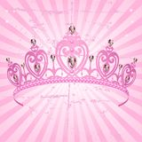 Princess Crown on radial grange background. Beautiful shining true princess crown on radial grange background Stock Photos