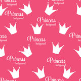 Princess Crown Seamless Pattern  Background Vector Illustration. Royalty Free Stock Image