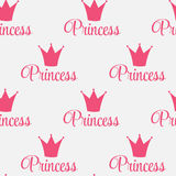 Princess Crown Seamless Pattern  Background Vector Illustration. Royalty Free Stock Photography