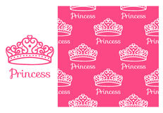 Princess Crown. Seamless repeating pattern. Diadem princess  on pink background. Vector illustration Stock Photo
