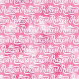Princess Crown Seamless repeating pattern. Princess Crown. Seamless repeating pattern. Diadem princess  on pink spots background. Vector illustration lettering Stock Images