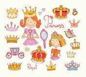 Princess crown set, hand drawn vector Royalty Free Stock Image
