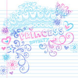 Princess Crown Tiara Sketchy Notebook Doodles. Vector Illustration of Hand-Drawn Sketchy Princess Tiara Crown Notebook Doodles with Flowers, Hearts, Swirls Stock Photo