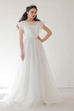 Princess with a Crown in white dress the bride Royalty Free Stock Image