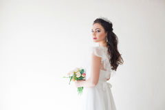 Princess with a Crown in white dress the bride Stock Image