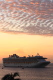 PRINCESS CRUISE SHIP AT SUNRISE. CABO SAN LUCAS, MEXICO - OCT 2, 2016. A beautiful sunrise in Cabo gives all these cruise ship passengers something wonderful to royalty free stock photos