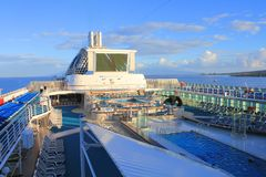 Princess cruises ship deck. LAHAINA, MAUI, HAWAII - SEPTEMBER 18 : Top deck of Princes Cruises ship on September 18, 2012 in Lahaina, Hawaii, USA. Dawn Princess royalty free stock images