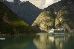 Princess cruises ship and mountains. Princess cruises ship sailing in Alaska, between mountains royalty free stock photo
