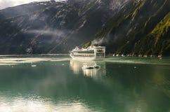 Princess cruises ship. Sailing in Alaska, between mountains royalty free stock image