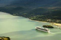 Princess cruises ship sailing from Juneu Alaska. Arial view Princess cruises ship sailing from Juneau Alaska royalty free stock photos