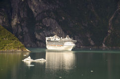Princess cruises ship. View Princess cruises ship sailing in Treacy Arm, Alaska. Tracy Arm is a fjord in Alaska near Juneau. Tracy Arm is the heart of the Tracy royalty free stock photos