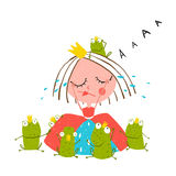 Princess Crying and Many Prince Frogs Colored Stock Image