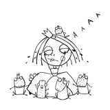 Princess Crying and Many Prince Frogs Coloring Royalty Free Stock Photography