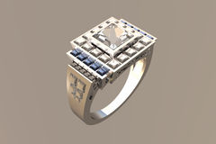 Princess Cut Diamond Platinum Wedding Ring. Victorian Princess Cut Diamond/Topaz Platinum Wedding Ring - Rhino 3D - Brazil Render Royalty Free Stock Photos