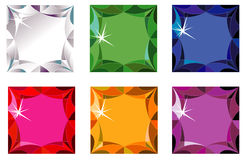 Princess cut precious stones with sparkle. Illustration of princess cut precious stones with sparkle isolated on white Stock Images