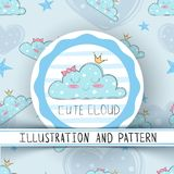 Princess cute cloud - seamless pattern vector illustration