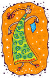 Princess dancing. A thin, high princess dancing with a blue handkerchief in his hand. On a yellow background image white stars and purple spiral royalty free illustration
