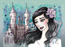 Princess with dark hair and her castle behind Royalty Free Stock Photos