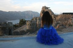THE PRINCESS DELEATING HER CASTLE royalty free stock photography