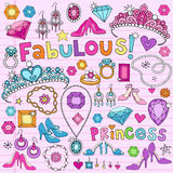 Princess Design Elements Notebook Doodles. Hand Drawn Princess  Notebook Doodles Design Elements on Lined Notebook Paper Background with Tiaras, High Heels Stock Photography
