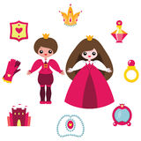 Princess design elements set. Vector cute cartoon prince, princess and accessories isolated on white Stock Images