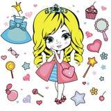 Princess design elements. Royalty Free Stock Image