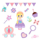 Princess design elements. Vector illustration of princess design elements. Princess and Fairy Items Royalty Free Stock Photos